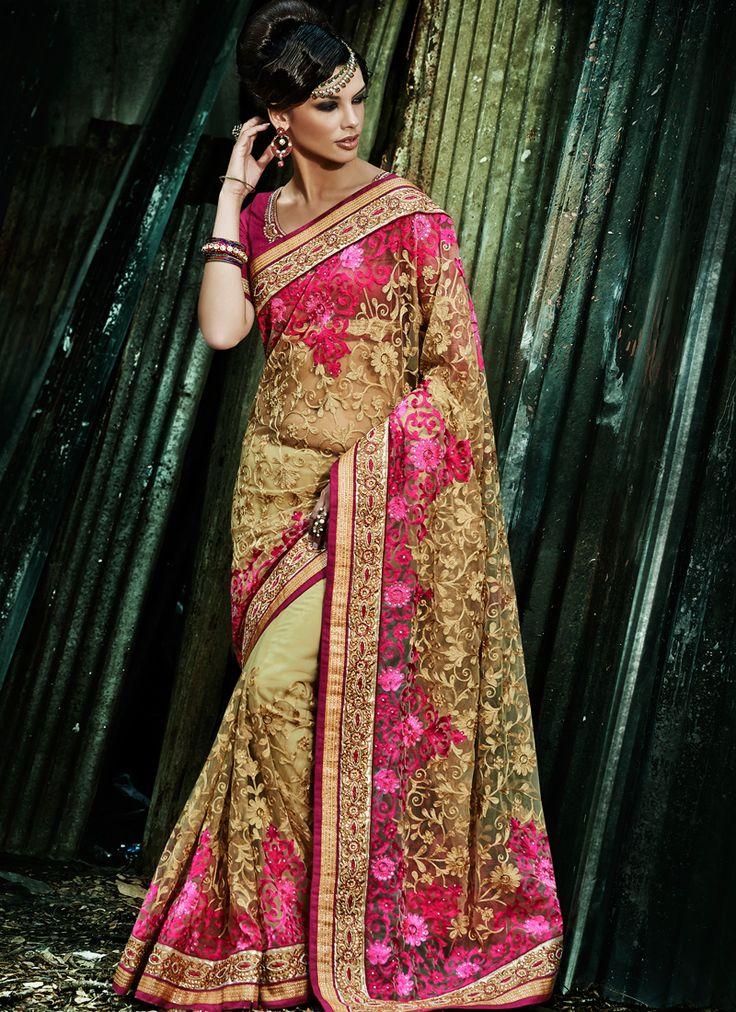 Wedding Wear Pink Designer Indian Saree www.indiansareestore.com