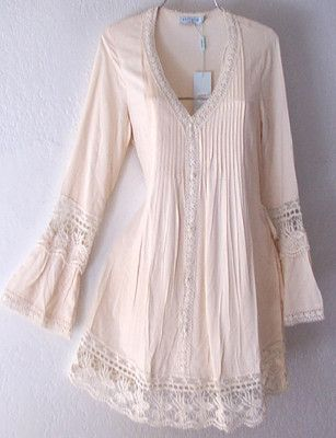 New Long Ivory Crochet Lace Peasant Blouse Shirt Tunic Boho Top 8 10 M Medium | eBay