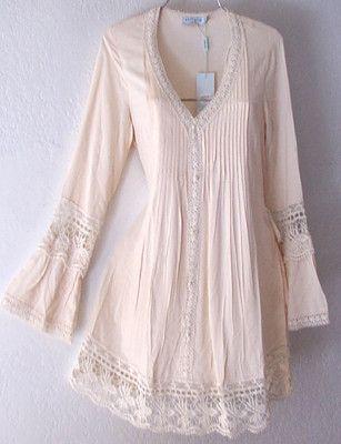 New Long Ivory Crochet Lace Peasant Blouse Shirt Tunic Boho Top 8 10 M Medium | eBay