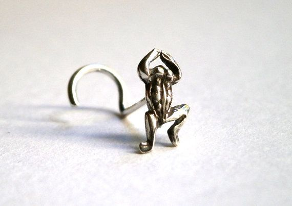 Tiny Nose Stud Silver Nose Stud Frog Nose by JewelryByKonstantis