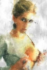 Showing breasts, Women, Girl, Digital painting, sketch