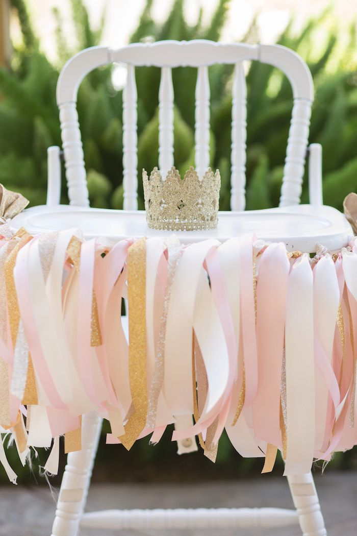 Pink and gold ribbon garland vintage highchair Vintage Glam Princess Birthday Party via Kara's Party Ideas | KarasPartyIdeas.com (51)
