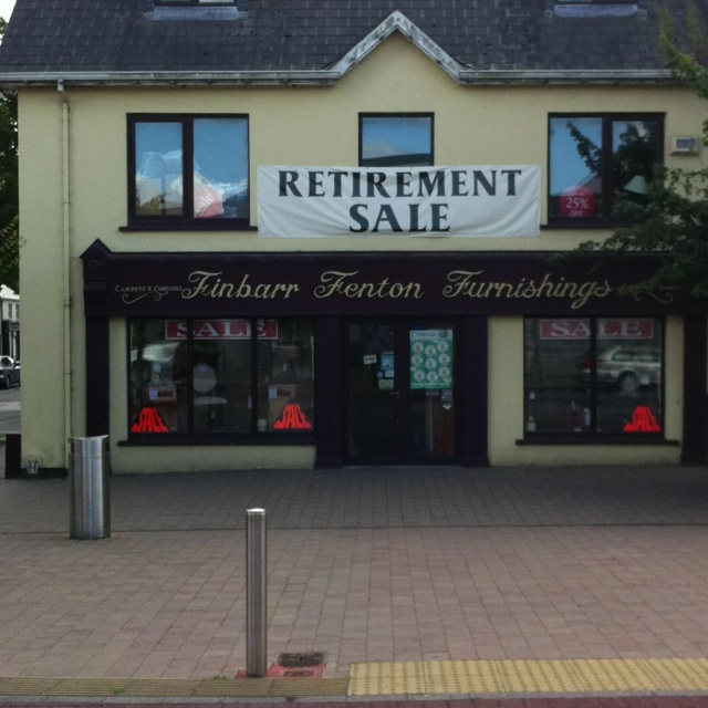 Finbarr Fentons furnishings are holding a retirement sale...Main st,Ballincollig