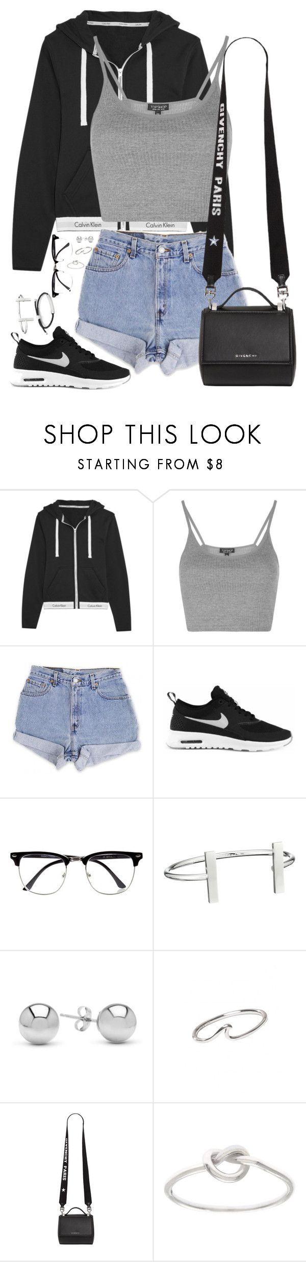 """Untitled #21"" by stylesbyer ❤ liked on Polyvore featuring Calvin Klein Underwear, Topshop, Levi's, NIKE, River Island, French Connection, Jewelonfire, Givenchy, La Preciosa and Monica Vinader"
