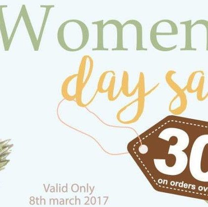 Womens Day Sale! Only this March 8th. 30% discount coupon on $30 dollars or more Buy more for less.