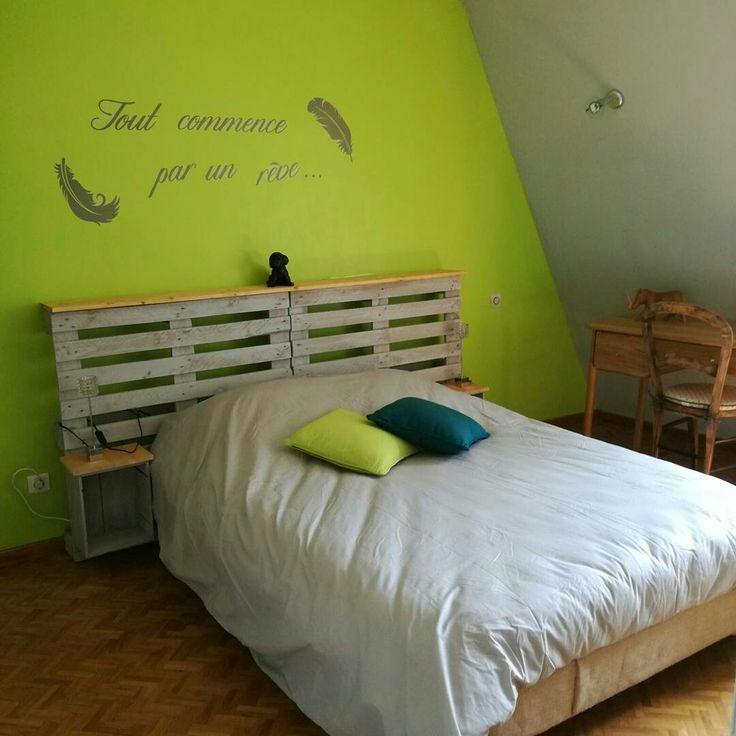 Création d' une tête de lit en palette ,relooking d un sommier avec de la toile de jute