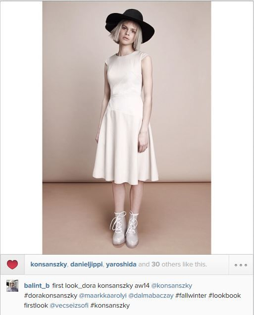 first look from the 2014_15 AW_konsanszky wool dress w calf fur details and w pleated wool hat
