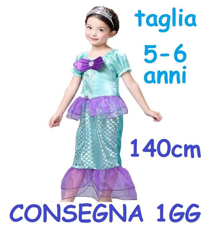 http://www.stokkolotto.it/#!/costumimascherecarnevale  Maschera principessa Ariel Sirena sirenetta dei mari e oceani costume carnevale bambina taglia 4 5 anni misura 140cm