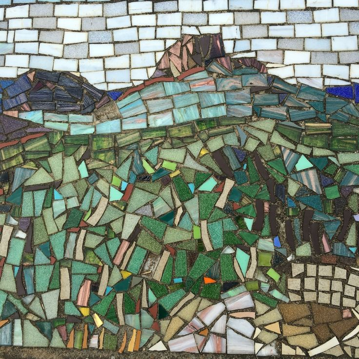 Glasshouse Mtns mosaics on the path