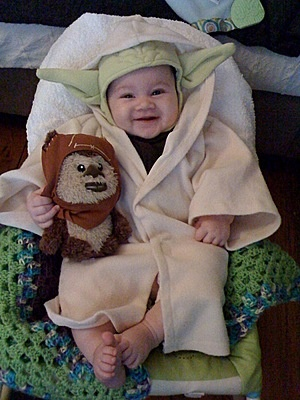 Yoda costume and Ewok plushie!  One of our best seller costume http://www.oyacostumes.ca/eg/Theme-Costumes-Star-Wars-Costumes/YODA-Costume