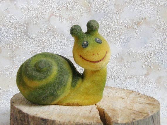 Soviet little snale toy. Vintage soft  foam green toy by SovietDreams, $16.00
