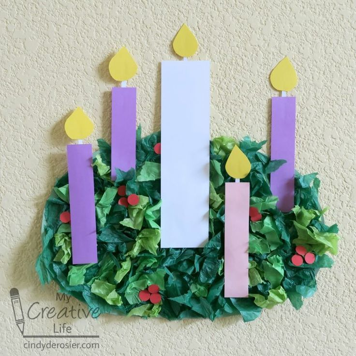 Tissue Paper Advent Wreath Construction paper crafts