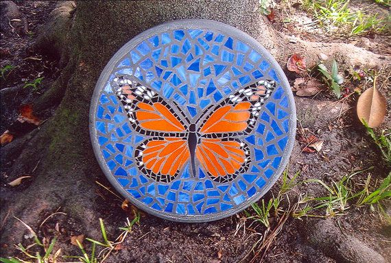 "Monarch Beauty Stepping Stone - Handmade Stained Glass and Concrete Stepping Stone - 14"" Round"