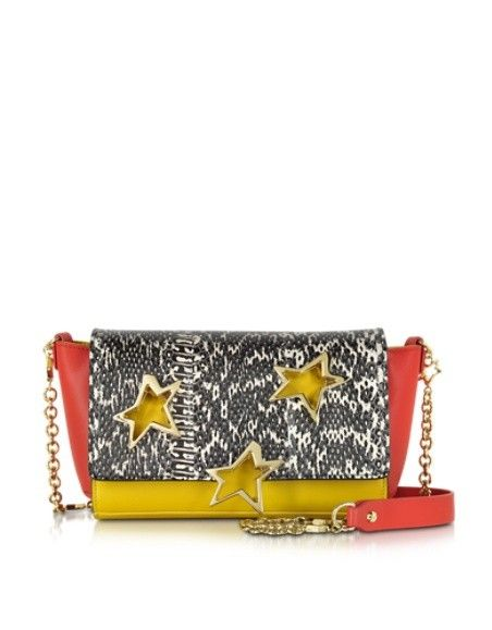 CORTO MOLTEDO TRESTELLE COLOR-BLOCK AYERS AND LEATHER SHOULDER BAG