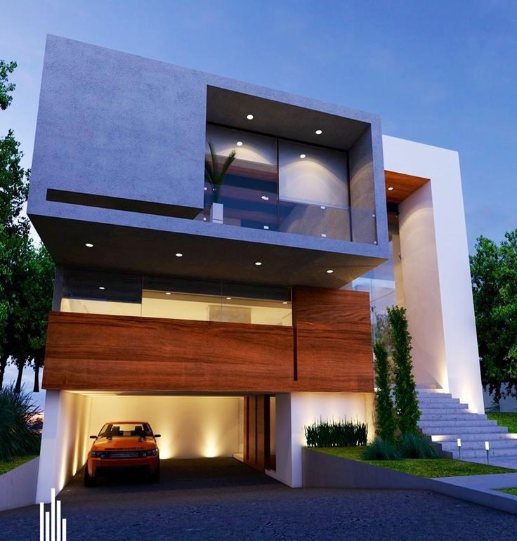 Exposed concrete and wood. Great exterior.