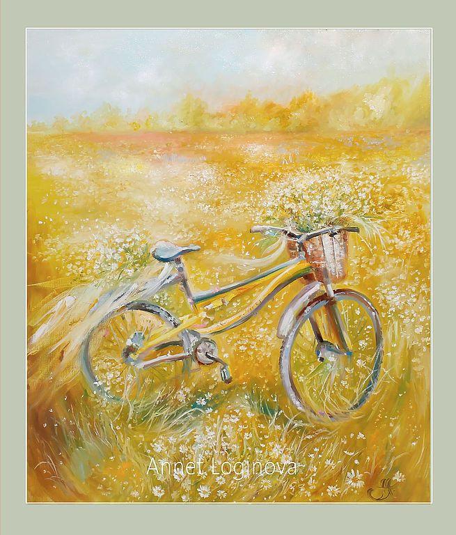 Купить Велосипеды- авторская печать на атласном холсте - белый, велосипед, интерьерные картины, нежно-зеленый