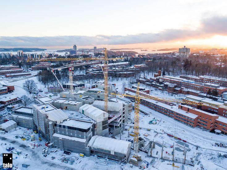 New campus building of Aalto University under construction in Espoo, Finland
