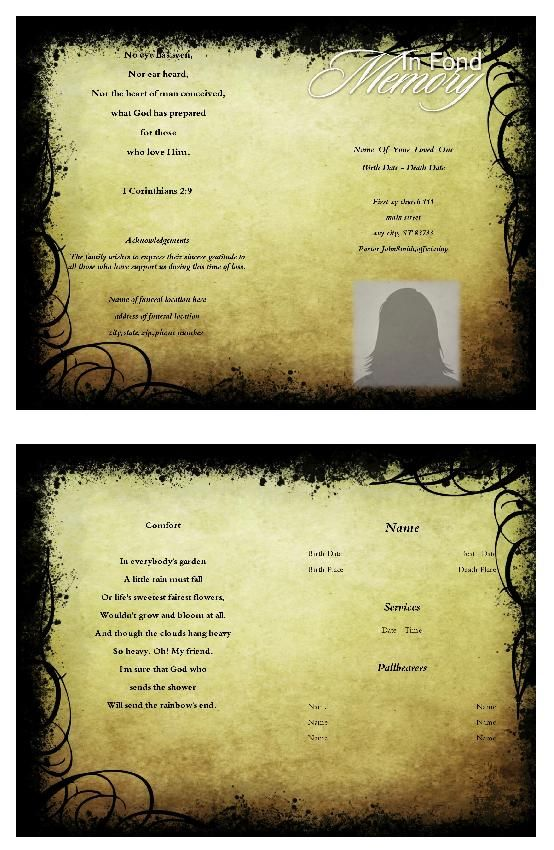 15 best free funeral program images on Pinterest Christmas - free funeral program template