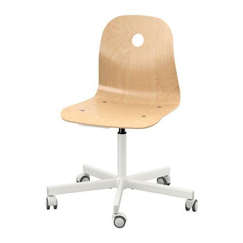 IKEA - VÅGSBERG / SPORREN, Krzesło obrotowe, okl brzoz/biały,  , , Regulowana wysokość siedziska zapewnia wygodną pozycję podczas siedzenia.