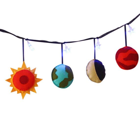 Solar System Fairy Lights Planets Boys Room by ButtonOwlBoutique