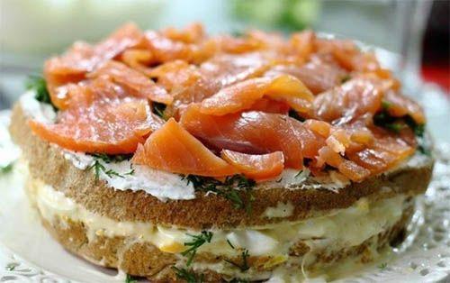 Торт-бутерброд с копченым дальневосточным лососем и креветками - Мое Настроение - социальная сеть для тех кому хорошо
