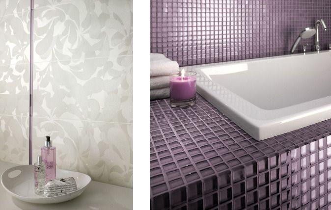 Szklane dekoracje – mozaika i listwy w kolorach Grigio i Lilac sprawią, że łazienka zamieni się w kwitnące, ale jednocześnie eleganckie i nowoczesne wrzosowisko.  .http://www.paradyz.com/plytki/lazienkowe/baletia-arolehttps://www.facebook.com/CeramikaParadyz