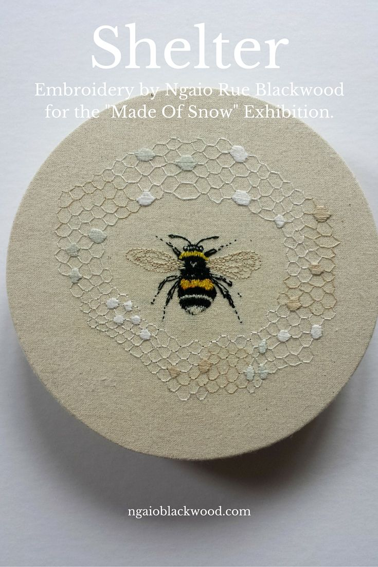 """Embroidery on cotton by Ngaio Rue Blackwood. One of three pieces for the exhibition """"Made of Snow"""" www.ngaioblackwood.com"""