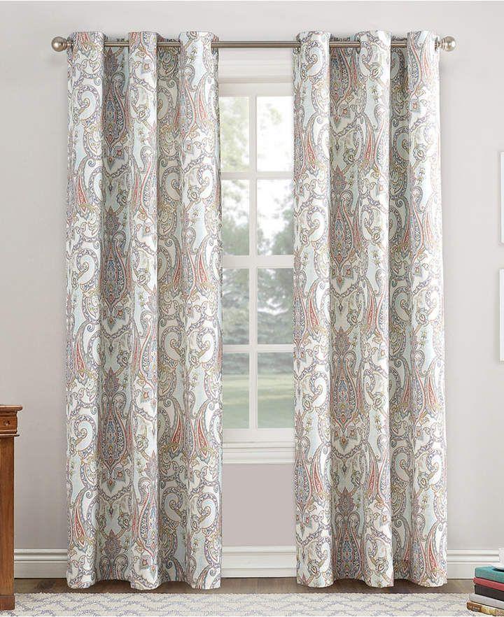 Liliana Lichtenberg No 918 48 X 63 Paisley Damask Print Casual Textured Grommet Curtain Panel Curtains Drapes Curtains Panel Curtains