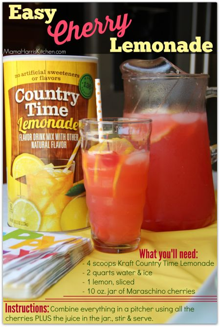 Ad: Easy Cherry Lemonade, a perfect party drink!  #whatsgrillin #cbias