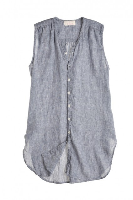 @Kristen Kyslinger St Barth Karla Chambray Linen Sleeveless Button Down This is the kind of button down that works for me. I love the length of this piece.