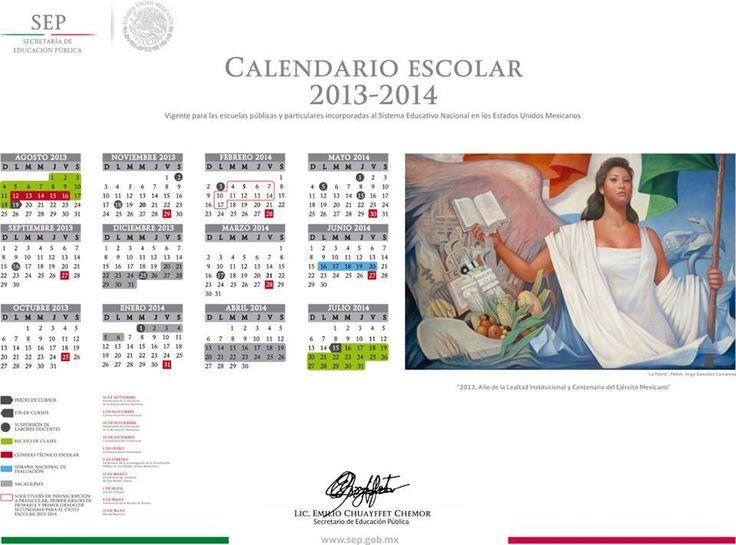 La Secretaria de Educación Pública, en México, presentó el nuevo calendario escolar 2013-2014.   |Soy Preescolar