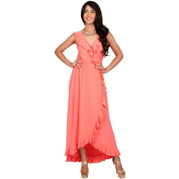 KOH KOH Sleeveless V-Neck Elegant Cocktail Long Coral Maxi Dress ($71) ❤ liked on Polyvore featuring dresses, gowns, coral evening gowns, long red evening dress, red evening gowns, evening maxi dresses and long red dress