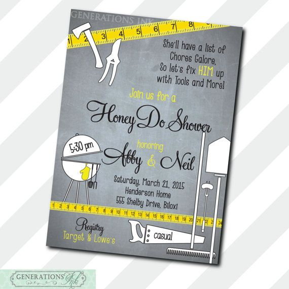 Couples Honey Do Shower Invitation / tool and by GenerationsInk