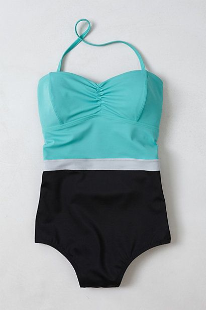 color blocked maillot.