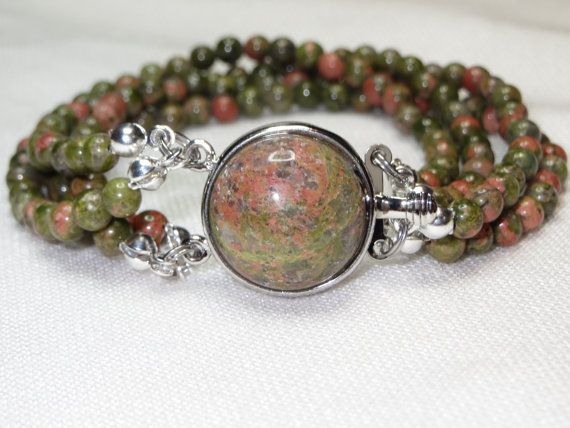 Unakite Bracelet Beaded Bracelet Statement Bracelet by Thielen
