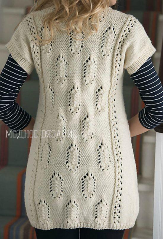 Длинный жилет ажурными листьями из *Simply Knitting* - Модное вязание