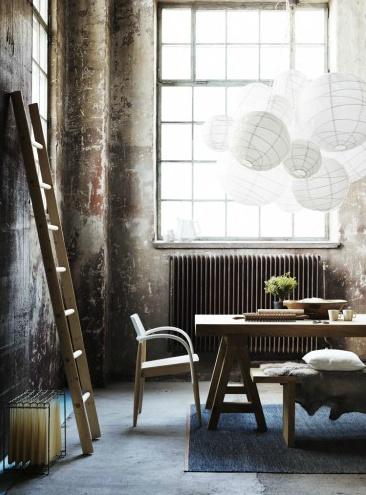 lighting cluster.: Lights, Spaces, Dining Room, Interiors Style, Paper Lanterns, Big Windows, Modern Rustic, Interiors Design, Living Room