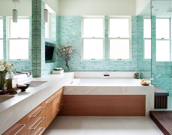 Soooo in love with this bathroom... seaglass tile bathroom albaworks