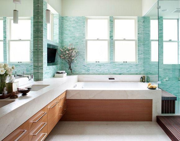 Soooo in love with this bathroom... seaglass tile bathroom albaworks