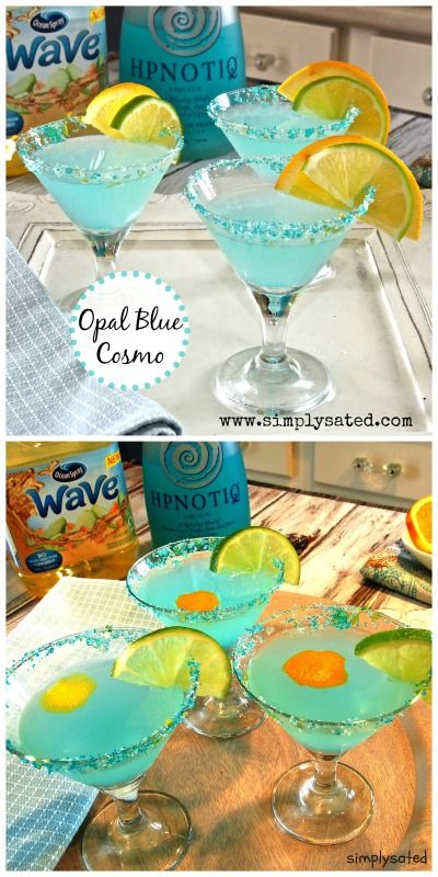 OPAL BLUE COSMO - a beautiful, delicious and refreshing blend of orange, lime and Hypnotiq Liqueur. www.simplysated.com