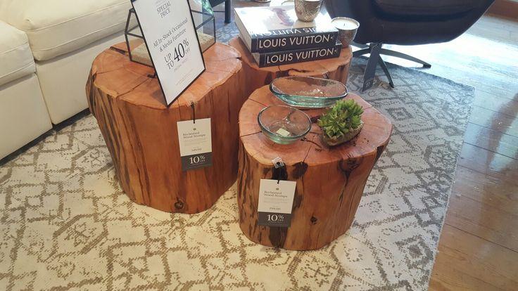 Reclaimed wood stump coffee table