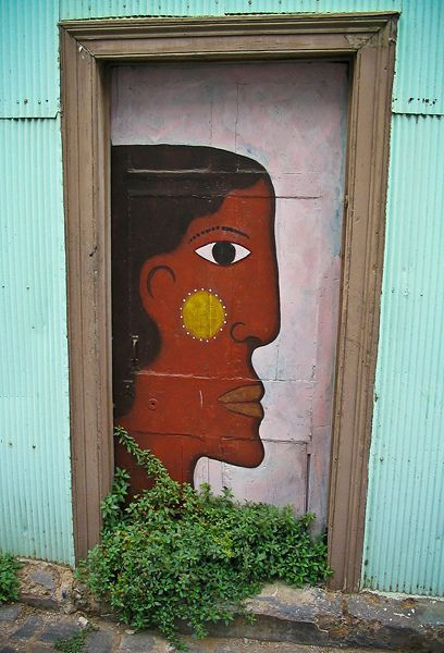 A painted door, in Valparaiso Chile