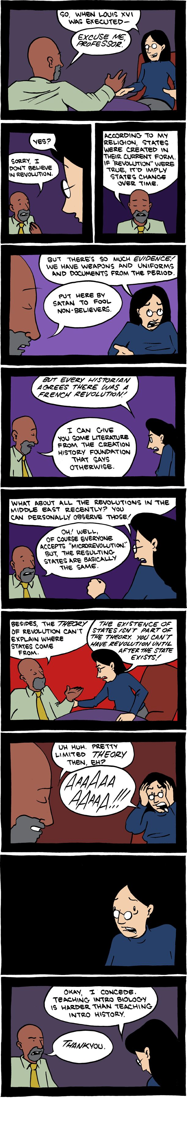 This is how the debate would've sounded if applied to history: | The Creationist Vs. Evolutionist Debate Summed Up In Comics