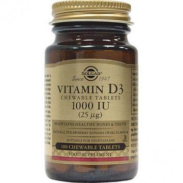 VITAMIN D-3 (ΒΙΤΑΜΙΝΗ D-3 ΜΑΣΩΜΕΝΕΣ ΤΑΜΠΛΕΤΕΣ) SOLGAR 1000IU chewable (Strawberry-Banana) 100s ΒΙΤΑΜΙΝΗ Α & D