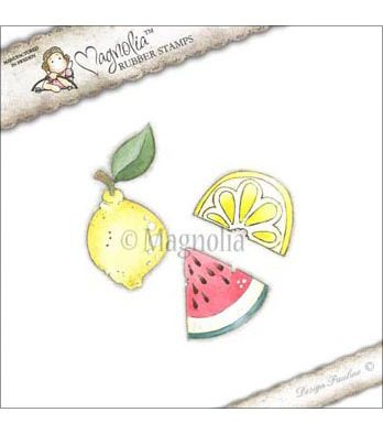 "Pink Lemonade Cling Stamp 6.5""X3.5"" Package-Pink Fruits"