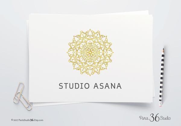 DIY Instant Download Logo PSD Gold Foil Mandala Logo Design for yoga studio branding, restaurant logo design, e-commerce website logo, wordpress blog logo, boutique logo, photography branding, wedding logo, website branding design.