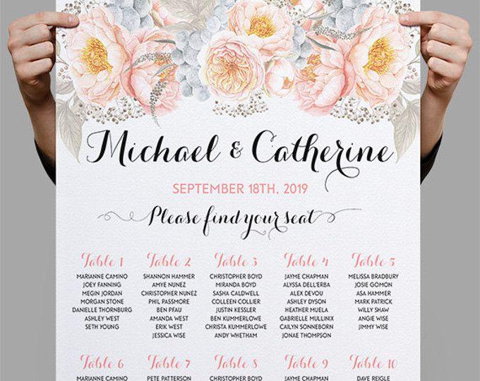 Gepersonaliseerde bruiloft zitplaatsen grafiek tabel zitplaatsen afdrukbare tabel planning, Rozenkwarts rozen pioenrozen Boho Wedding Decor DIY digitale bestanden