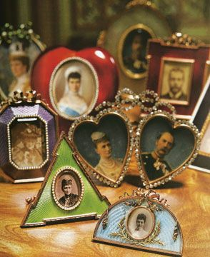 """Fabergé Frames "" containing  pictures of the Family of Tsar Nicholas II, of the Russian Imperial House of Romanov,the Last Tsar of Russia."