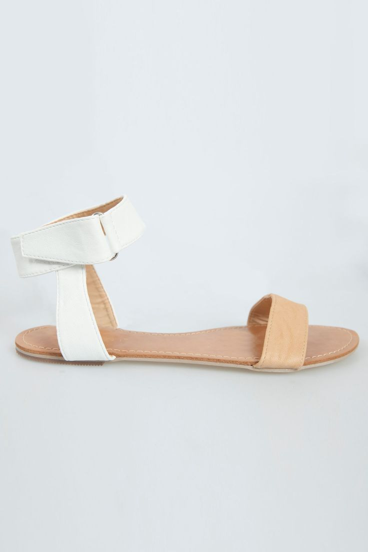 Anbree Sandals - BILLINI. Loving these sandals for the new season. Featuring a tan and white vegan leather strap upper with a silver buckle and velcro closure at ankle.