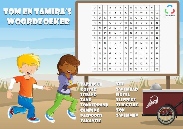 Ambrasoft - Knutselplaat - woordzoeker voor kinderen met thema zomer - Tom en Tamira